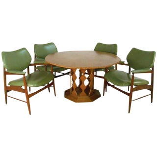 Danish Modern Dining Table With Chairs