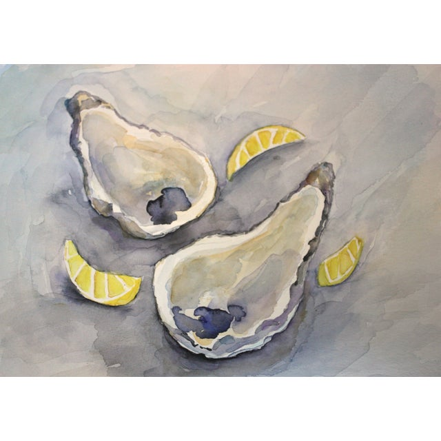 Original Oysters with Lemons Watercolor Painting - Image 1 of 2
