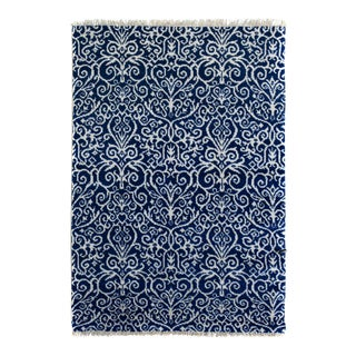 Kafkaz Peshawar Cyrena Blue & Ivory Wool & Viscose Rug - 4'1 X 6'1