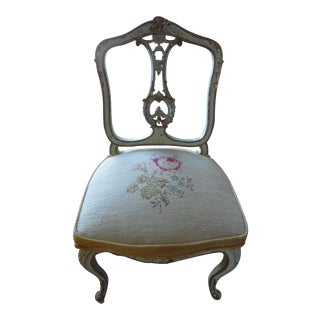 Fabulous Antique French Dressing Chair Embroidered Seat Adorable