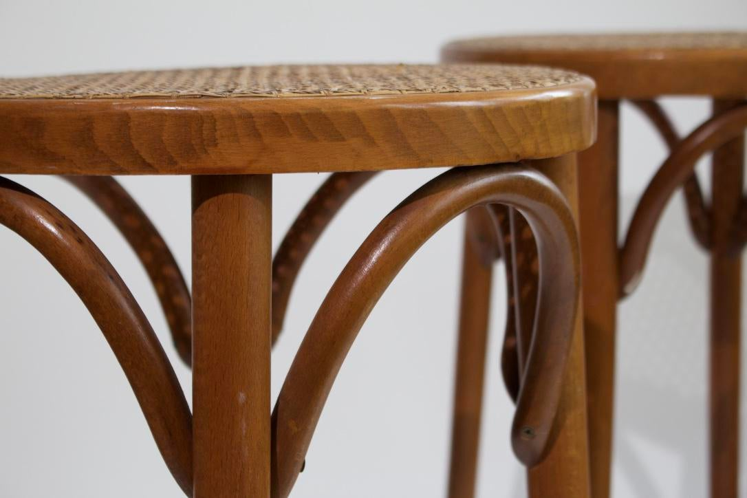 Bentwood Counter Stools In The Style Of Michael Thonet A