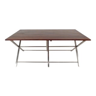 """Unique Mid-Century Modern Folding Coffee Table with Chrome """"X"""" Base"""