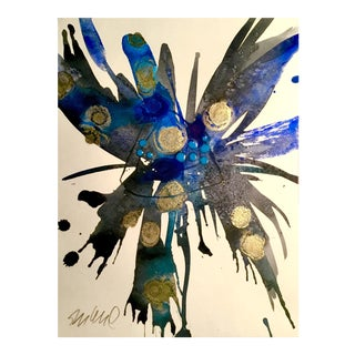 Ultra Blue Burst Botanical Watercolor Painting