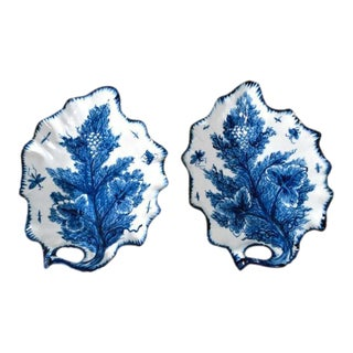 Bow Porcelain Underglaze Blue Trompe l'Oeil Leaf Dishes, Circa 1765 - a Pair
