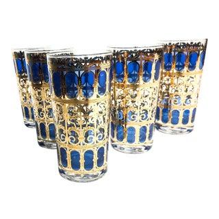 Vintage Culver Azure Blue & Gold Leaf Bar Glasses- Set of 5
