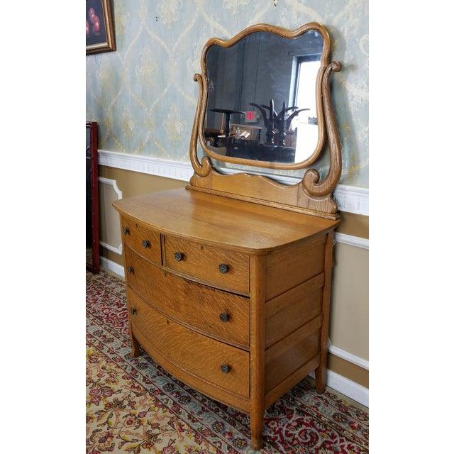 Antique Victorian Quartered Oak Dresser & Mirror - Image 3 of 9