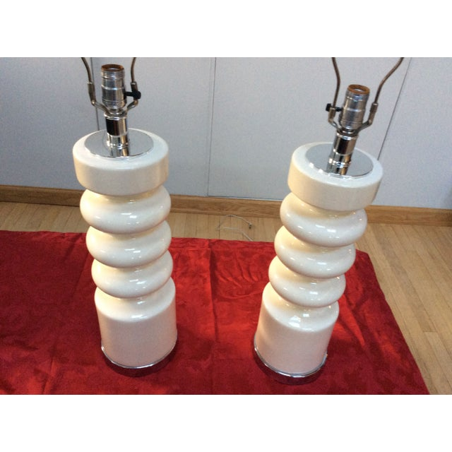 Image of 1970s Modern Chrome & Ceramic Table Lamps