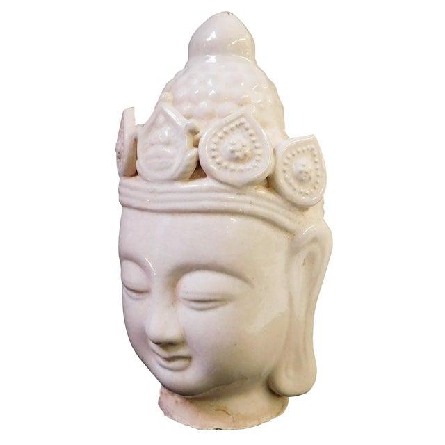 Image of Chinese Ceramic Clay Kwan Yin Head Figure
