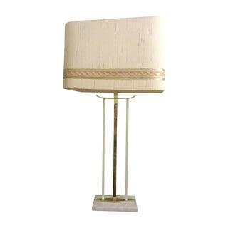 Mid-Century Brass & Marble Table Lamp