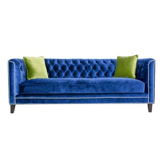 Pasargad Victoria Collecion Royal Blue Velvet Sofa