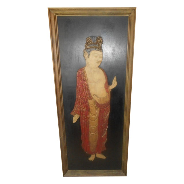 Vintage Oriental 3D Handcarved Wood Wall Sculpture - Image 1 of 6
