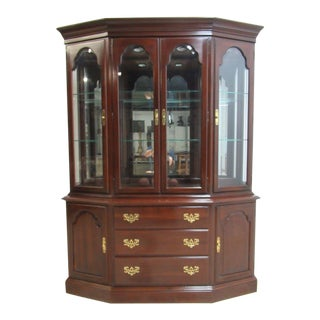 Ethan Allen Georgian Court Chippendale China Cabinet Breakfront Display Hutch