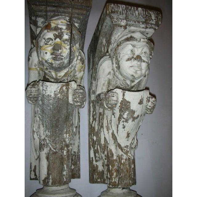 Antique Carved Oak Gargoyle Brackets - A Pair - Image 7 of 11