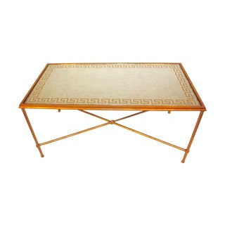 Contemporary Gilded Greek Key Cocktail Table