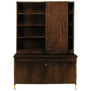 Bert England Walnut and Brass Mosaic Parquetry Cabinet