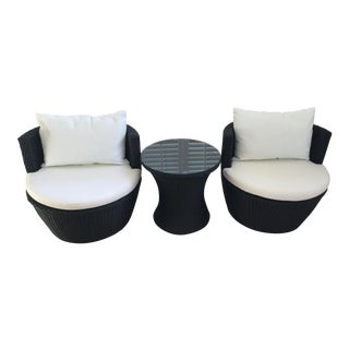Outdoor Wicker Chat Set - 3 Pieces