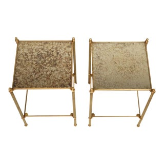 French Two-Tier Matched Pair of Bronze End Tables