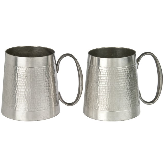 Image of Vintage Malaysian Hammered Pewter Mugs - a Pair