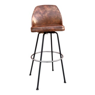 Mid-Century Cosco Brown Vinyl Stool