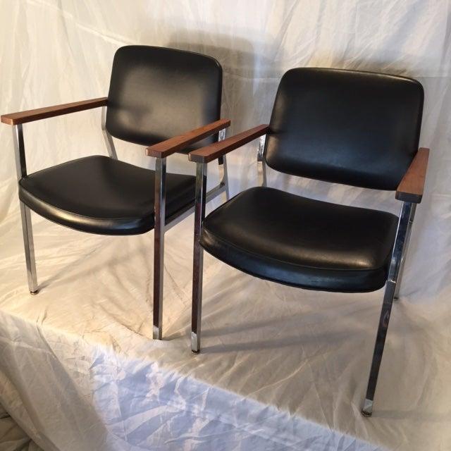 Mid-Century Chrome & Walnut Armchairs - A Pair - Image 2 of 7