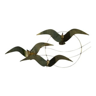 Mid-Century Modern Flock of Brass Birds Metal Sculpture