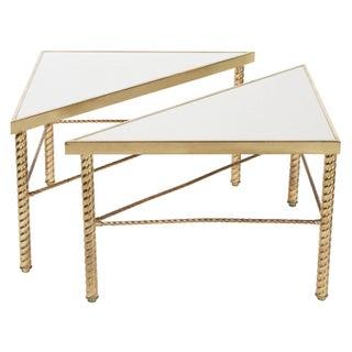 1970s Italian Brass Triangle Tables - A Pair