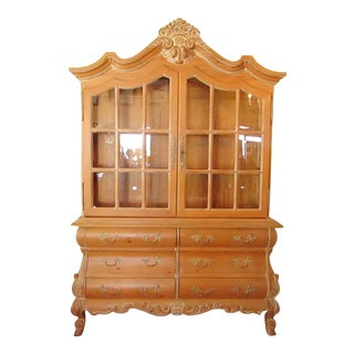 Carved Pine Breakfront Cabinet