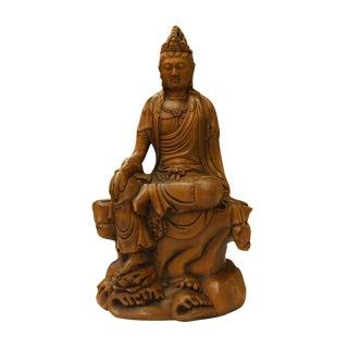 Chinese Carved Wood Sitting Kwan Yin Bodhisattva Statue