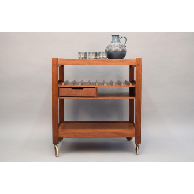 Mid-Century Teak Bar Cart With Reversible Serving Tray - Image 4 of 10