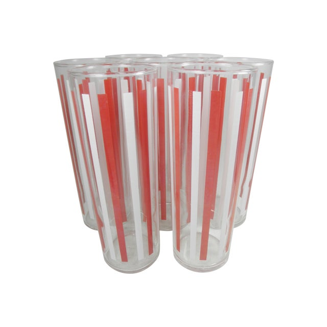 Red & White Striped Collins Glasses - Set of 7 - Image 1 of 2