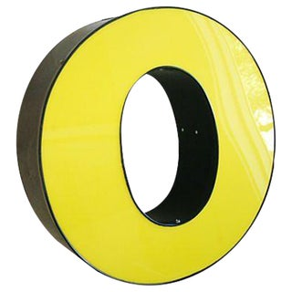 Large Vintage Yellow & Black Marquee Letter O