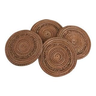 Natural Boho Woven Trivets- Set of 4