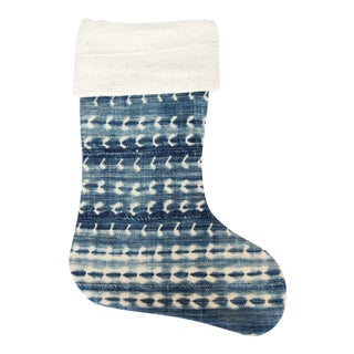 Vintage Indigo and Mudcloth Christmas Stocking