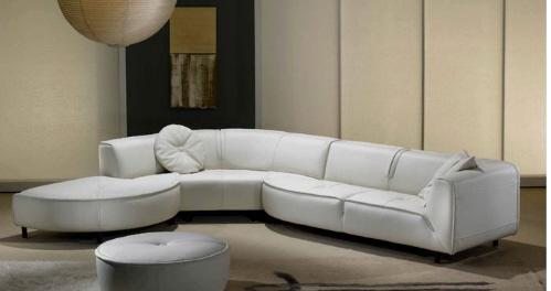 Gamma Furniture Planet Three Piece White Leather Sectional   Image 10 Of 11