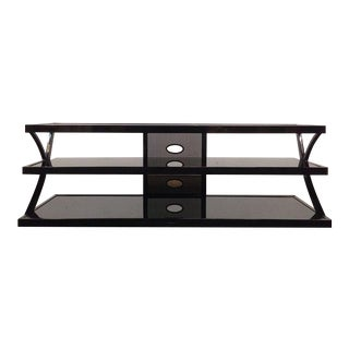 Contemporary Black Glass & Metal Entertainment Stand
