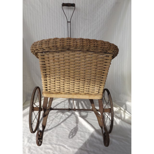 Antique Wicker Childs 2 Wheel Sulky Carriage - Image 6 of 8