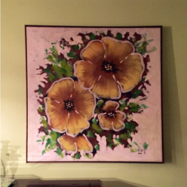 Image of Large Mid Century Painting of Yellow Flowers