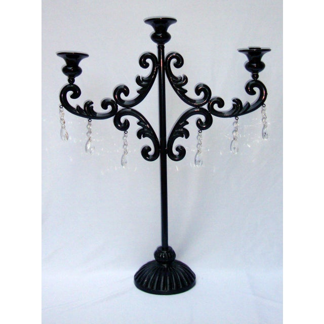 Large Gothic Deco Black Metal Crystal Candelabra - Image 3 of 11