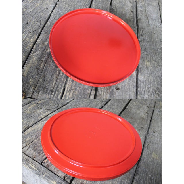 Mid-Century Red & White Ice Bucket, Tumblers and Tray Beverage Set - Image 10 of 11