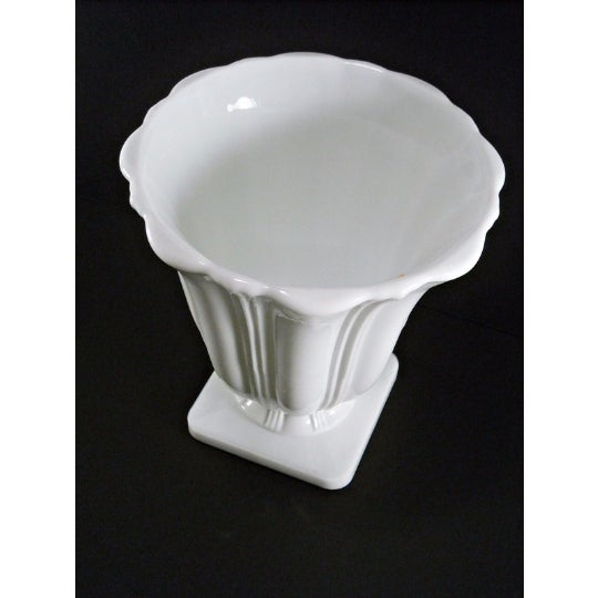 Art Deco Milk Glass Planter Urn Vase - Image 4 of 5