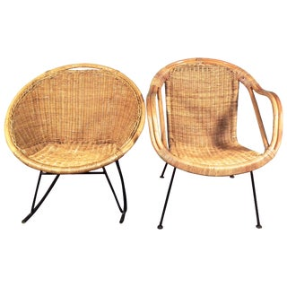 Mid Century Wicker/Rattan Set - Chair & Rocker