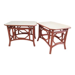 Vintage Rattan Chippendale Side Tables - a Pair