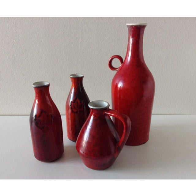 Terracotta Red Glazed Containers - Set of 4 - Image 3 of 10
