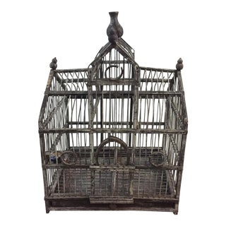Vintage Gray Wood Bird Cage