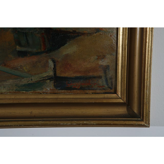 Image of 1900s Danish Country Oil Painting on Fiberboard