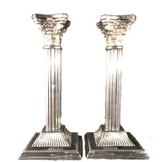 Silver Plate Candle Holders. Vintage, Made-In-England - a Pair