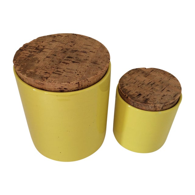 Mid-Century Yellow Ceramic Canisters - A Pair