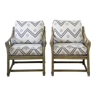 Vintage Ficks Reed Lounge Chairs in Peter Dunham Fabric - A Pair