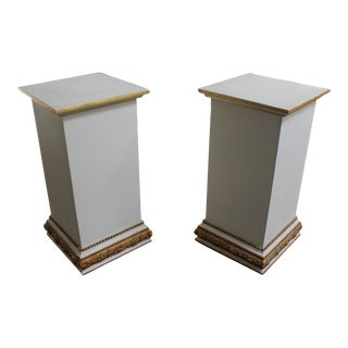 Pair of White and Gold Hollywood Regency Wood Pedestals
