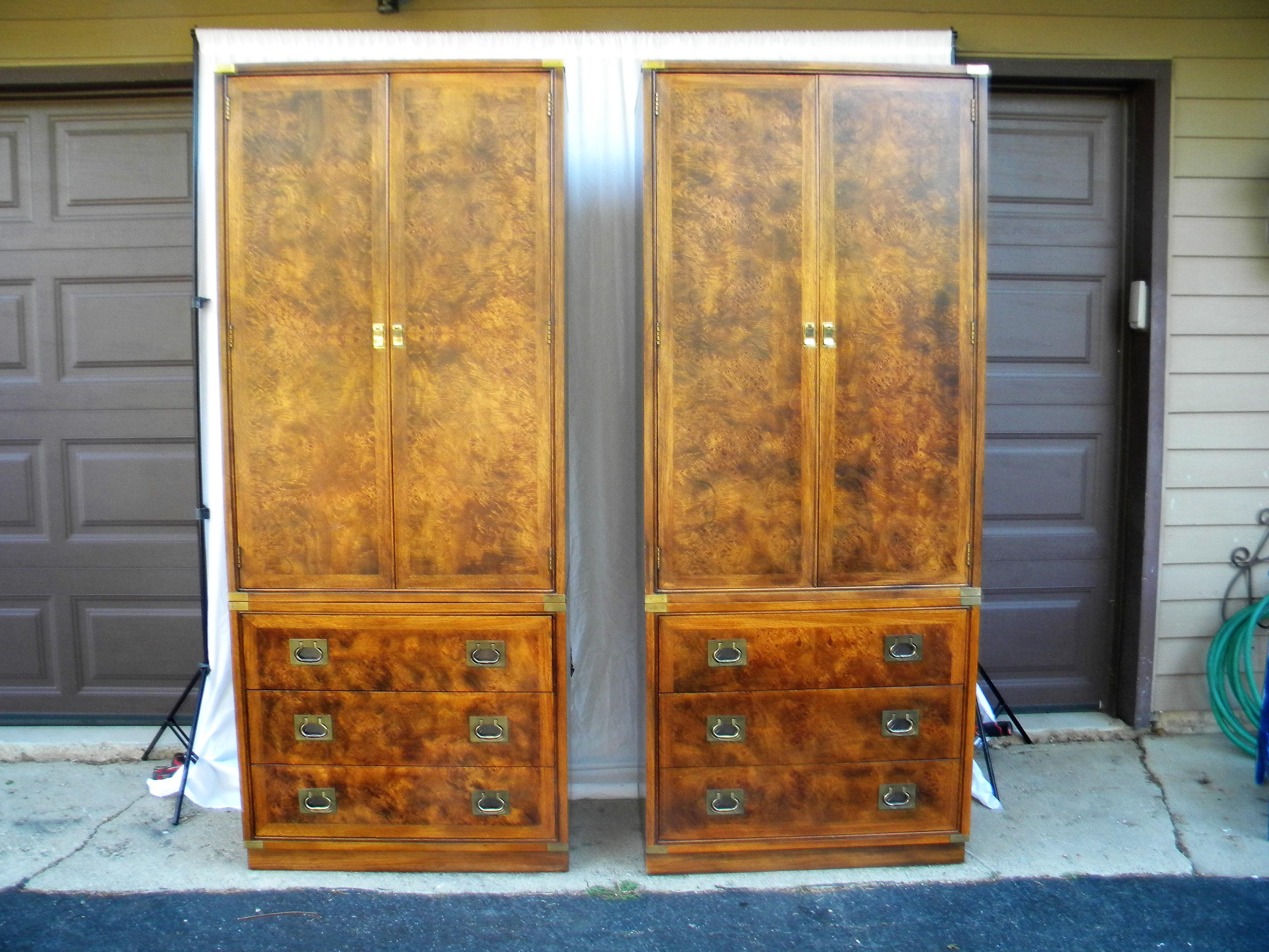 Hickory Furniture Company Campaign Cabinets   A Pair   Image 2 Of 9